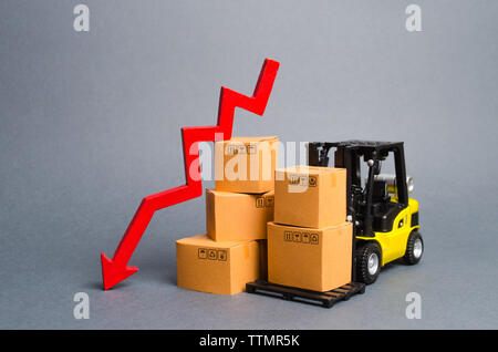 Yellow Forklift truck with cardboard boxes and a red arrow down. Concept drop in industrial production and business. economic downturn, recession. Fal - Stock Photo