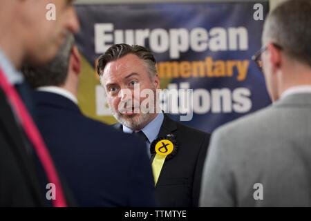 Edinburgh, UK, 27th May, 2019: Alyn Smith after his re-election as an SNP member of the European Parliament. Credit: Terry Murden, Alamy - Stock Photo
