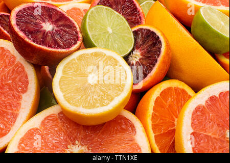 High angle view of various citrus fruits - Stock Photo
