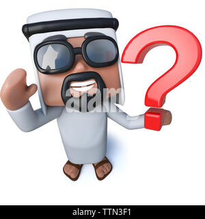 3d render of a funny cartoon Arab sheik holding a question mark symbol - Stock Photo