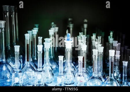 Chemical flasks at laboratory - Stock Photo