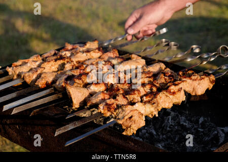 Male hand rotating meat pieces on skewer roasting in brazier - Stock Photo