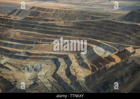 High angle view of mining at Bingham Canyon - Stock Photo