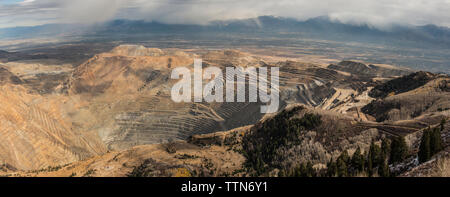 High angle view of Bingham Canyon mine - Stock Photo