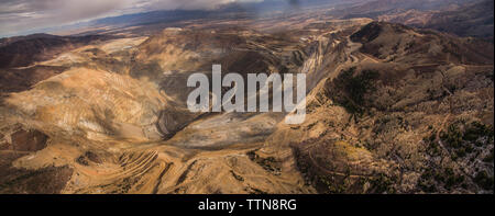 High angle scenic view of Bingham Canyon - Stock Photo
