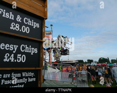 Seaclose Park, Newport, Isle of Wight. June 16 2019: Isle of Wight Festival,  rides and fairground, cafes and stands. - Stock Photo