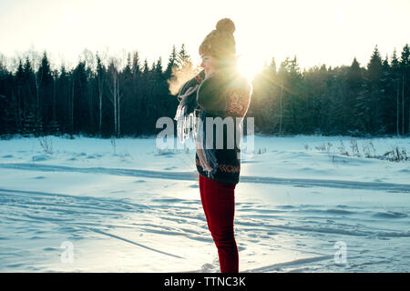 Portrait of a beautiful woman on a winter day - Stock Photo