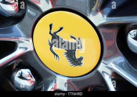 Monte-Carlo, Monaco - June 16 2019: Ferrari Prancing Horse Badge (Logo) On The Car Alloy Wheel Rim Of A Luxurious Italian Supercar At Monte-Carlo, Mon - Stock Photo
