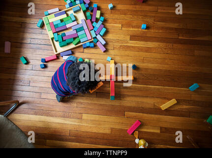 Overhead view of boy playing with toy blocks on hardwood floor at home - Stock Photo