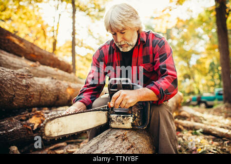 Male lumberjack examining chainsaw while sitting on log in forest - Stock Photo