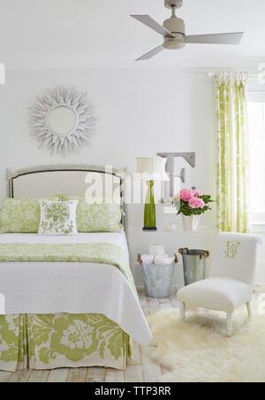 Interior of bedroom in luxury cottage - Stock Photo