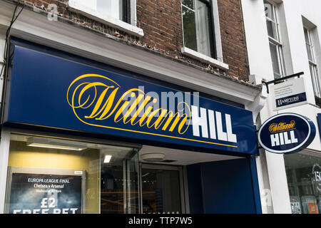 London, UK - May 28, 2019: William Hill Bookies on Londons high street - Stock Photo