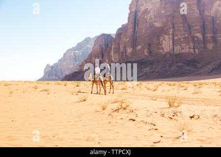 Friends riding on camel in desert against clear sky - Stock Photo