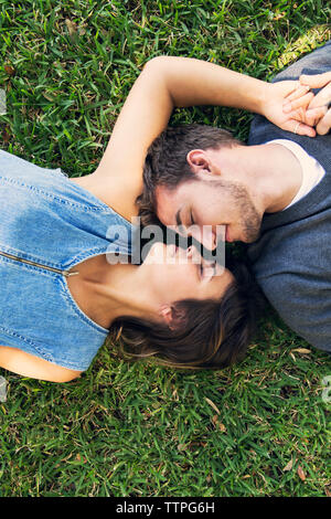 Overhead view of romantic couple lying on grass - Stock Photo