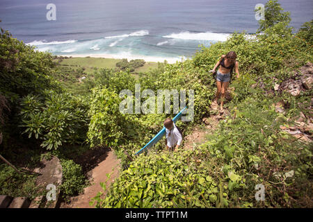 High angle view of female surfers on mountain by beach - Stock Photo