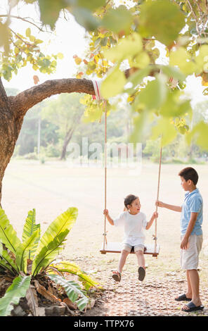 Brother swinging sister on rope swing at park - Stock Photo