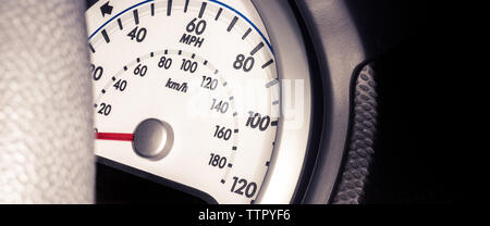 Car dashboard - speedometer with mph and kmh - Stock Photo