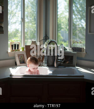 Shirtless baby boy sitting in kitchen sink against windows at home - Stock Photo