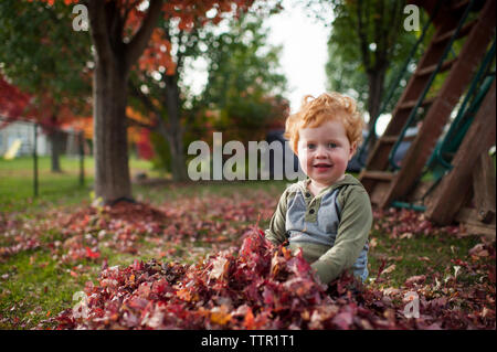 Portrait of cute little boy sitting in leaf pile in backyard at home - Stock Photo