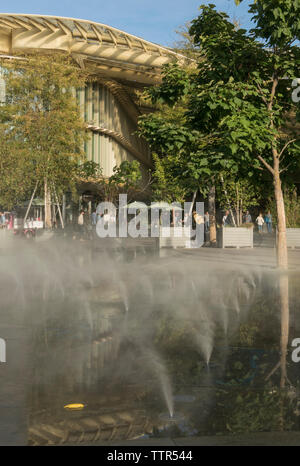 The water features of the forum des halles are a key landscaping element of the les halles development in Paris. - Stock Photo