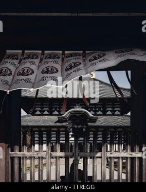 Awning on entrance against Todaiji temple - Stock Photo