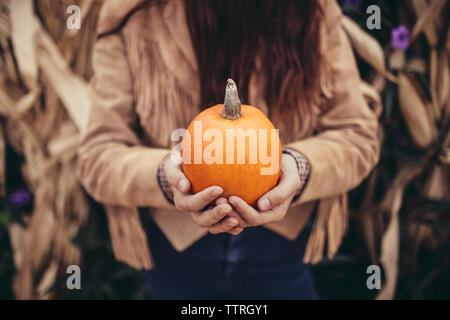 Midsection of woman holding fresh pumpkin - Stock Photo