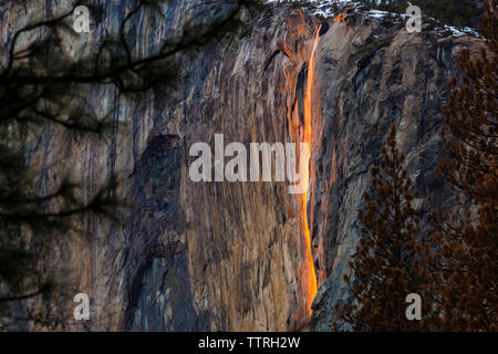 Scenic view of Horsetail Falls at Yosemite National Park - Stock Photo