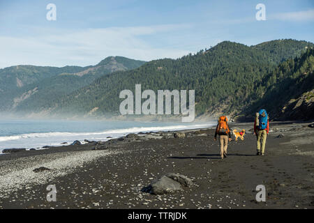 Rear view of hikers with backpacks and dog walking at beach against mountains and sky - Stock Photo