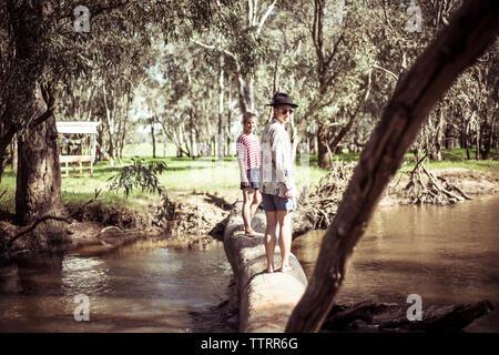 Full length of friends standing on fallen log over stream in forest - Stock Photo