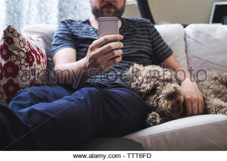 Midsection of man with sleeping dog using mobile phone while sitting on sofa at home - Stock Photo