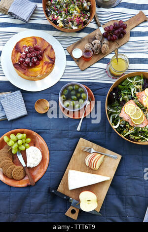 High angle view of food served on table at restaurant - Stock Photo