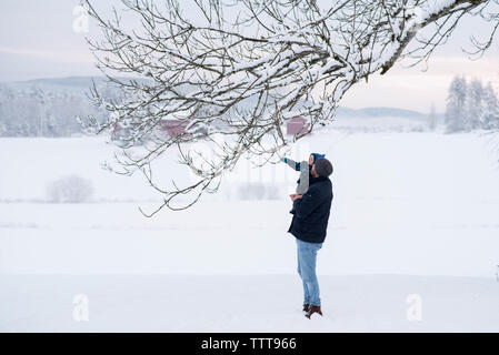 Father son winter wonderland touching snow - Stock Photo