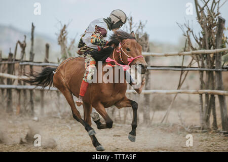 Jockey riding racehorse during horse racing - Stock Photo