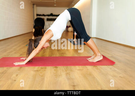 Female instructor with mother and son practicing downward facing dog position in yoga studio - Stock Photo