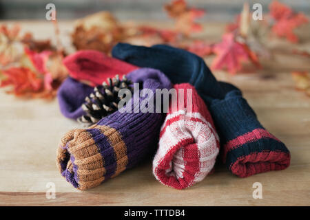 Close-up of socks on table - Stock Photo