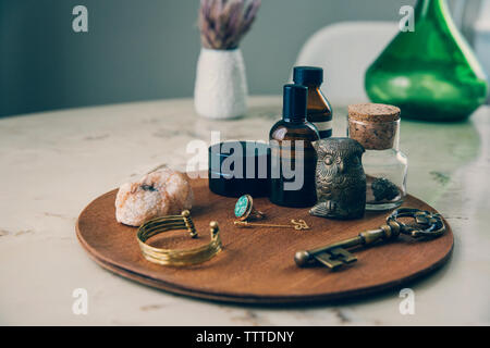 High angle view of objects on wooden board - Stock Photo