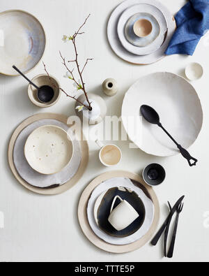 High angle view of kitchen utensils on table - Stock Photo