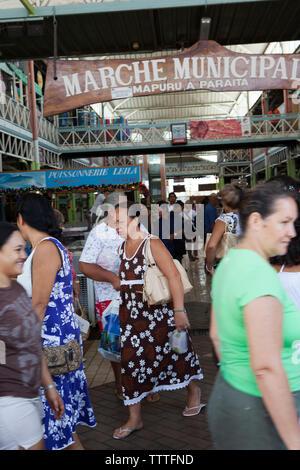 FRENCH POLYNESIA, Tahiti. The Municipal Market in Papeete. - Stock Photo