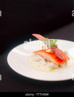SINGAPORE, Asia, close-up of a pan seared ocean trout served