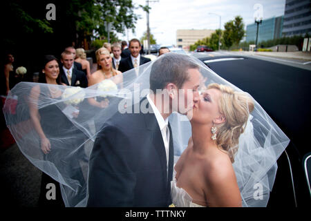 Newlywed couple kissing while friends in background - Stock Photo