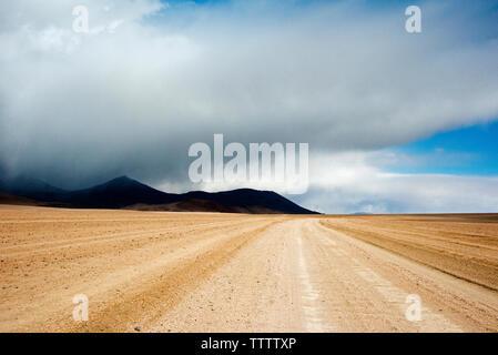 Tracks left by vehicles on desert land, Eduardo Avaroa Andean Fauna National Reserve, Potosi Department, Bolivia - Stock Photo