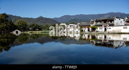 Anhui Hongcun, calm lake, reflecting the ancient village - Stock Photo
