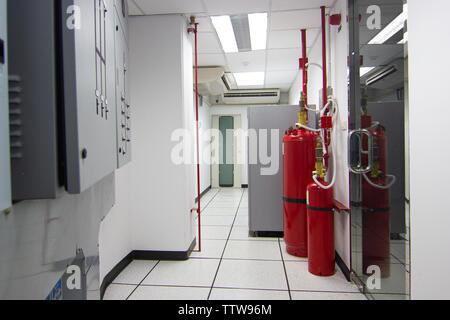 Data Center Room Bangkok Thailand:- May 30, 2018:- FM-200 Suppression Systems, FM200 Gas Flooding System, Gas Suppression System in Data Center Room - Stock Photo