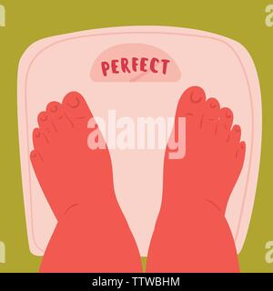 Feet on scales, weighing. Perfect number on scale. Self acceptance of your weight and fat acceptance movement. Woman, plus size body positive legs. Ve - Stock Photo