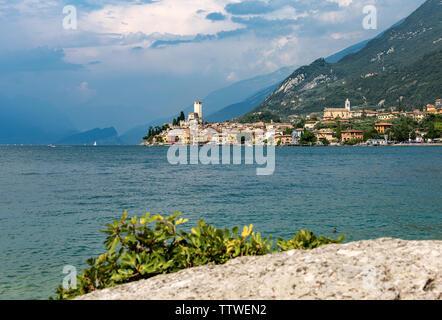Malcesine village with the lake Garda and Alps, Veneto, Verona province, Italy, Europe - Stock Photo