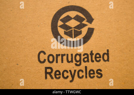 BANGALORE INDIA June 13, 2019 : Corrugated recycles printed on card board. - Stock Photo