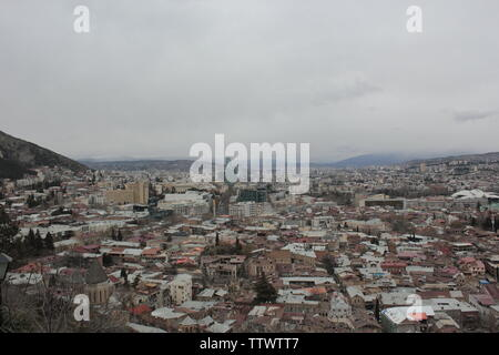 Buildings of Georgia in Tbilisi and Mtskheta, old city - Stock Photo