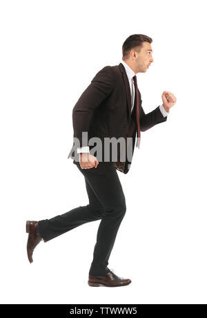 Businessman running away isolated on white - Stock Photo