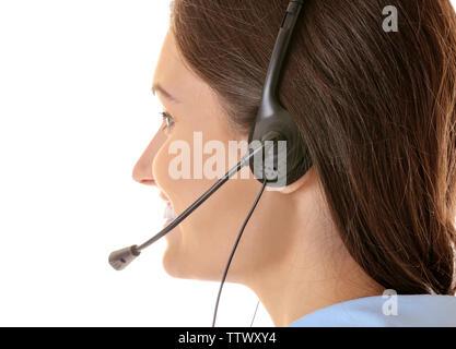 Call center operator on white background - Stock Photo
