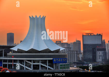 City night view, sunset, overpass, light rail. - Stock Photo